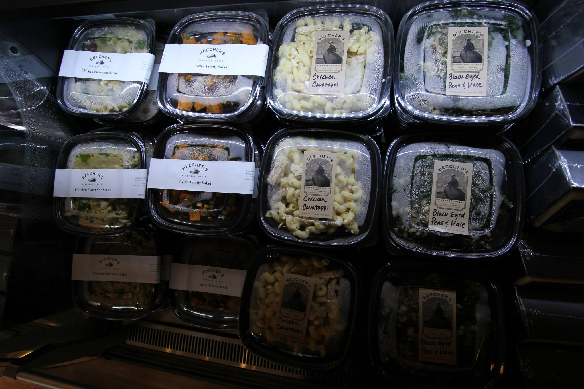 A selection of to-go salads and pastas